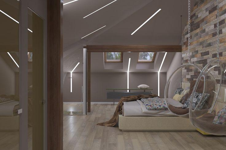 Сосны в мансарде - Освещение в современном стиле c XAL | PINWIN - конкурсы для…
