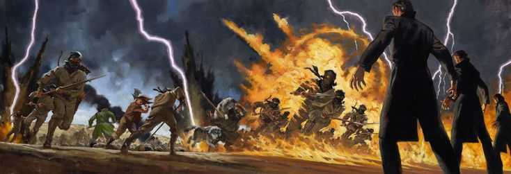 "Wheel of Time - Lord of Chaos (ebook cover art) ""The battle at Dumai's wells, with the Asha'man (right) destroying Shaido with the One Power. If you look closely at the left-hand side of the wraparound image, you can see Loial (green coat) and Perrin (brown shirt and axe) hacking away. It's more visible on the larger version posted on Tor.com."""