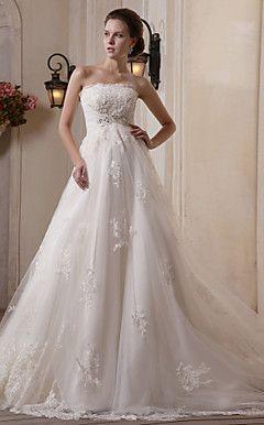 A-line Scalloped-Edge Chapel Train Tulle Satin Wedding Dress