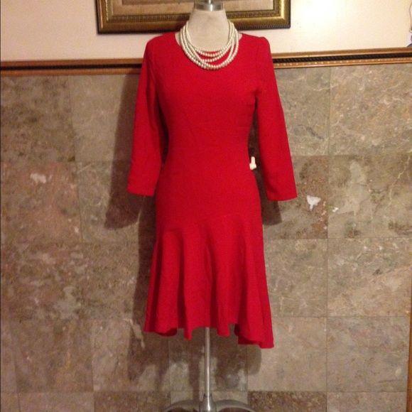 MICHAEL KORS DRESS Michael Kors Red long sleeve dress. Perfect for the holidays. RETAI:$260.00 Michael Kors Dresses High Low