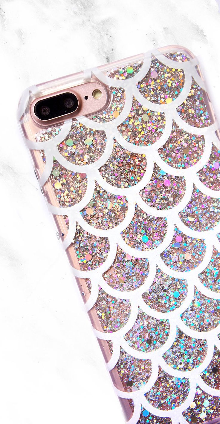 Silver Glitter Mermaid Phone Case, Sparkly Mermaid Scales Phone Case for iphone XR, iPhone 7, iPhone 5S, SE, Samsung S8 S8 Plus S9 Plus