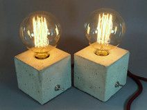 "2 Nachttischlampen ""CUBO duo"" aus Beton  Lamp, Lampe, Beton, Concrete, Bulb, Fabric Cable, concrete lamp, industrial, Table, Tisch, Textilkabel, Tischlampe, Nachttischlampe"