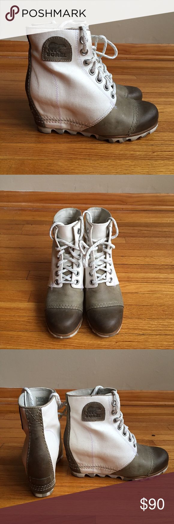 Sorel Wedge Booties! Green & White Sorel Booties with Wedge. Size 7 in great condition. Perfect for Fall/Winter Sorel Shoes Ankle Boots & Booties