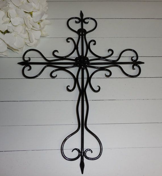 BLACK / Metal Cross / Wall Art / Religious Cross /  Home Decor