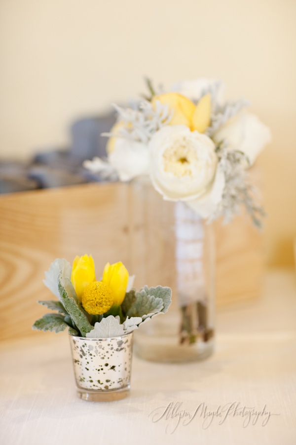 yellow, white and gray wedding arrangements, bouquets,