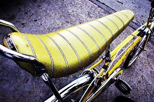 "Banana Seat bikes - Mine was sparkly purple with an extra tall sissy bar, tall handle bars, a basket, and a knob gearshift.  It was the best bike in the neighborhood for pulling ""waterskiing"" skateboarders."
