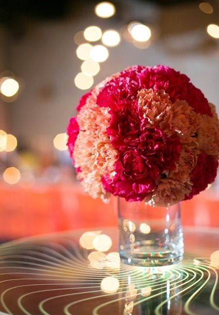 modern carnation sphere arrangement - pink and orange wedding arrangement