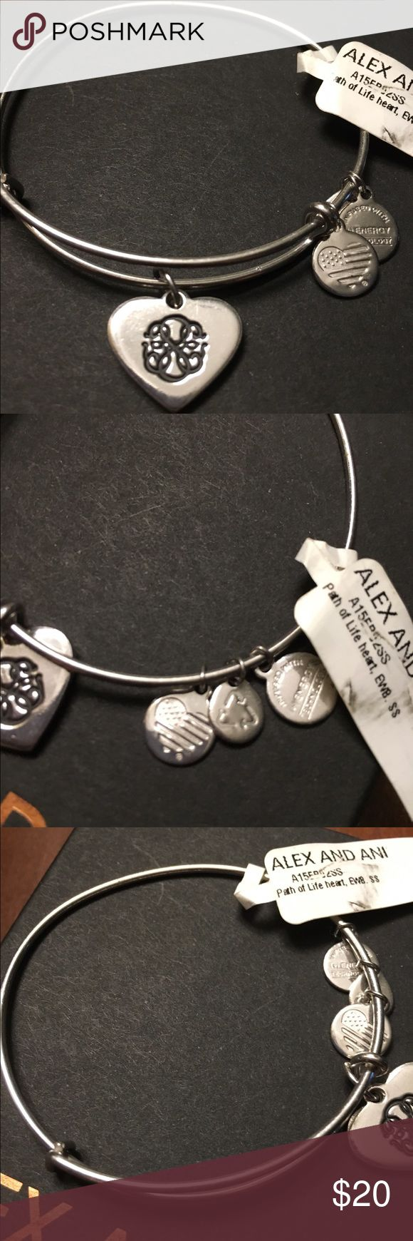 Alex and Ani silver Path of Life heart BNWT Never worn, stored in a dust bag. Perfect condition Alex & Ani Jewelry Bracelets