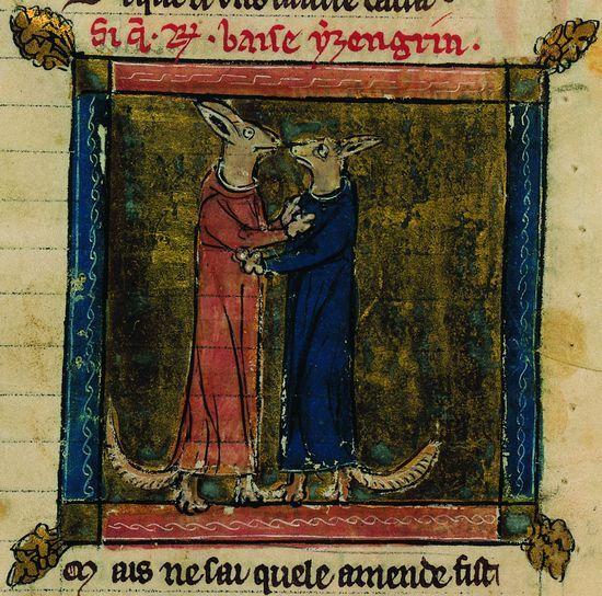 Roman de Renart : Renart et Ysengrin en costumes de moines  Renart et Ysengrin en costumes de moines. Miniature (1289) siècle extraite d'u...