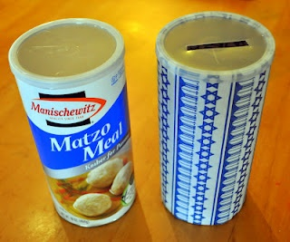 Matzah Ball Tzedakah Boxes - using a Matzah Meal carton, we covered it with some…