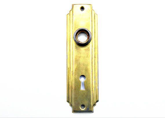 Vintage Art Deco Doorplate / Antique 1920\u0027s 1930\u0027s Style/ Metal Doorknob Backplates Escutcheons Architectural Salvage  sc 1 st  Pinterest & 23 best Vintage Door Back Plates images on Pinterest | Vintage ...