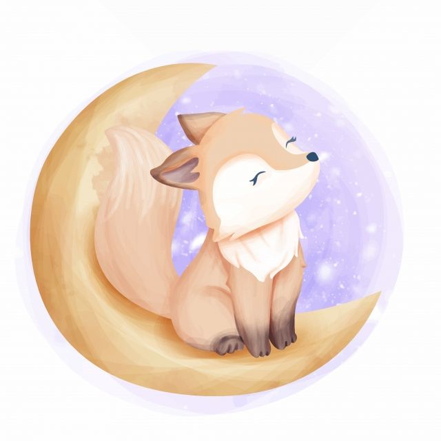 Beautiful Foxy On The Moon Adorable Animal Art Png And Vector