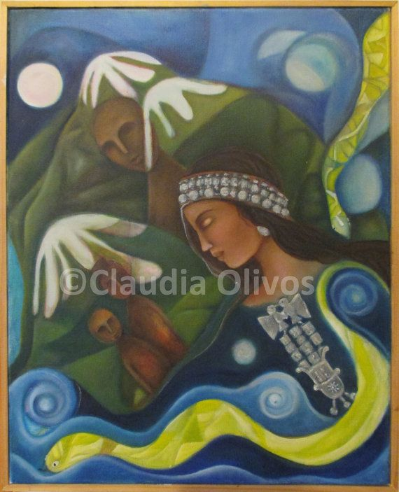 Chile Native American Indian Mapuche Art Machi, female Shaman/ healer. The Mapuches live in southern South America mostly in Chile and the adjacent areas of Argentina. #MapucheArt Starting at $28.00
