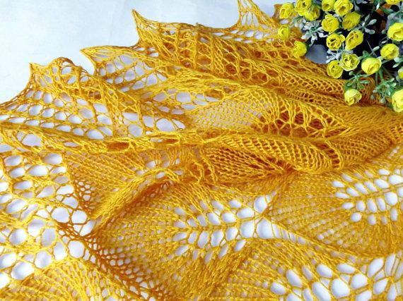 Yellow lace Shawl Knitted lace wrap Bridal shawl Openwork wrap