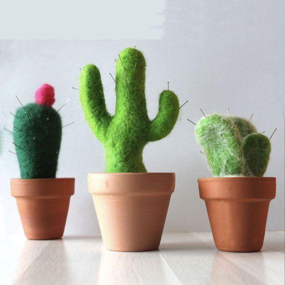 Cactus pin cushion Needle Felting Kit by LicoriceTree on Etsy