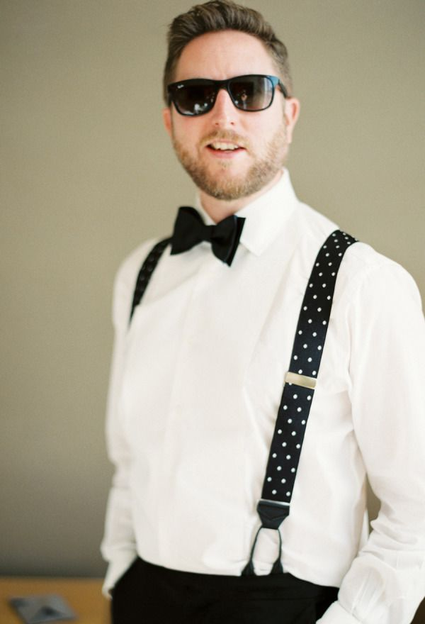 Polka Dot Suspenders & Sunglasses: http://www.stylemepretty.com/2015/07/10/personalized-style-details-for-the-groom/