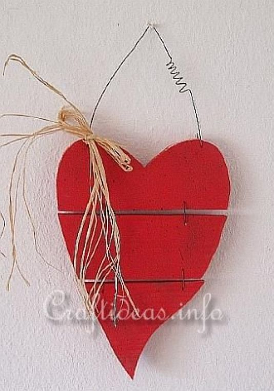Wood Crafts For Valentine S Day Country Red Wooden Heart Small