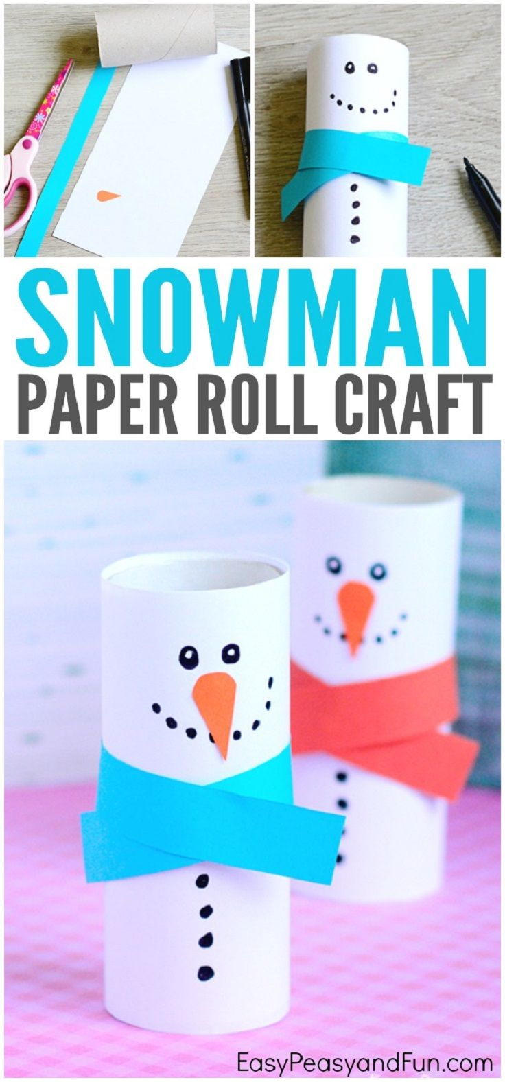 Paper Roll Snowman Craft - 14 Jingling Winter Crafts for Kids to Bring Flurries and Fun At Home