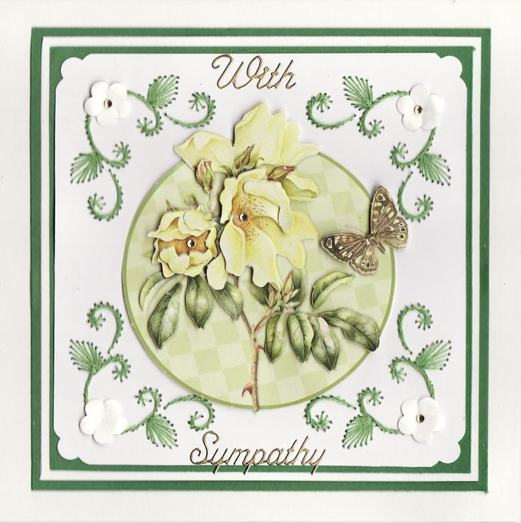 3D Cabbage Rose & Butterfly with embroidery Sympathy Card (by Tassie Scrapangel)