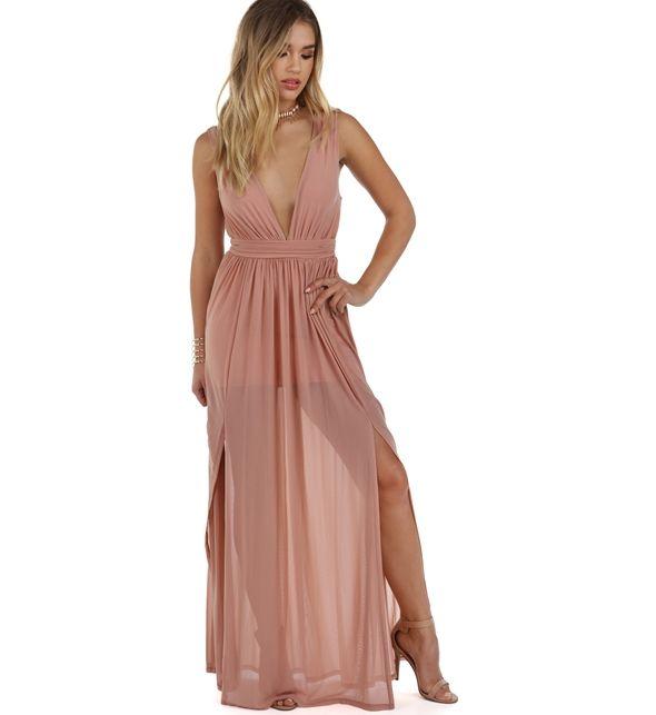 Arielle Mauve Mesh Dress