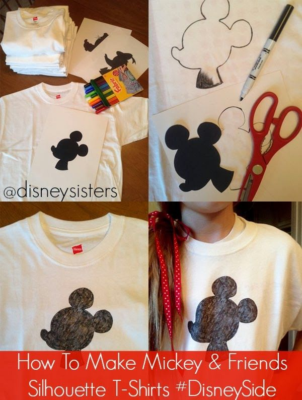 How to make your own mickey friends silhouette t shirts - How to design your own shirt at home ...