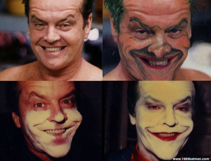 Jack Nicholson's makeup transformation to become the Joker for BATMAN (1989) was a two hour process done with 355 silicone adhesive since Nicholson is allergic to spirit gum. The hardest part was arriving at a 'white' that worked on a dark set next to a g