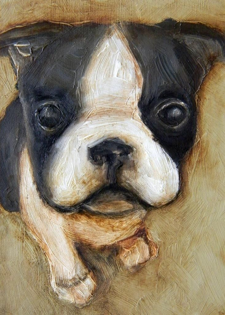 "8 x 10 IN - ""Boston Terrier"" - Puppy Dog Farm Folk Art LE Giclee print from my original painting. $15.00, via Etsy."