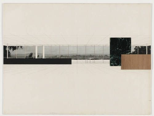 "Bacardi Office Building, project, Santiago de Cuba, Preliminary version: interior perspective  Ludwig Mies van der Rohe (American, born Germany. 1886–1969)    1957. Ink, wood veneer, marbelized paper and cut-out reproduction on illustration board, 30 x 40"" (76.2 x 101.6 cm). Mies van der Rohe Archive, gift of the architect. © 2012 Artists Rights Society (ARS), New York / VG Bild-Kunst, Bonn"
