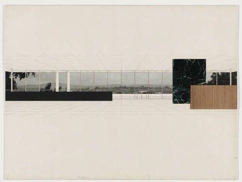 Ludwig Mies van der Rohe. Bacardi Office Building, project, Santiago de Cuba, Preliminary version: interior perspective. 1957