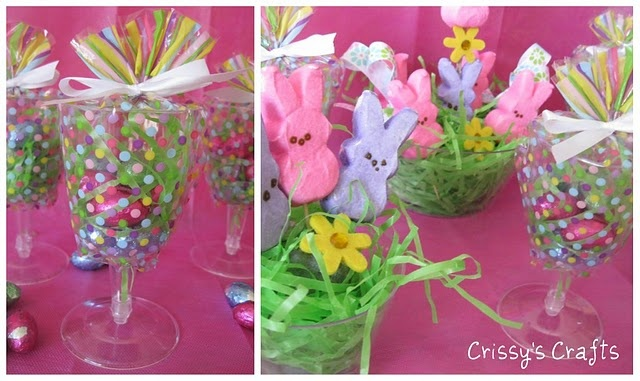 Treat holders made from plastic glasses and clear treat bags. #Treat #Favor #Spring: Party Favors, Gift, Party'S, Bunny, Parties, Holiday Idea, Craft Ideas, Easter Spring, Crafts