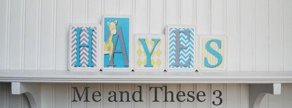 Wood letter name blocks - Custom to your style - turquoise aqua yellow white grey giraffe