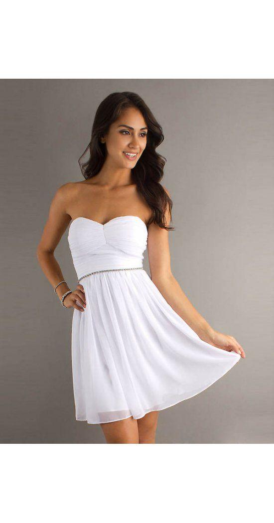 A-Linie aus Chiffon Herz-Ausschnitt Reißverschluss Weiße Kurze Abendkleider/Abschlusskleider Günstig