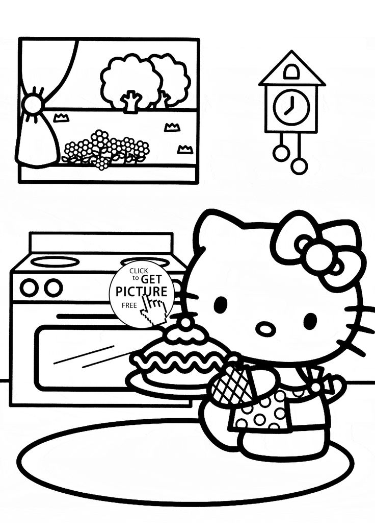 Hello Kitty Bakes A Cake Coloring Page For Kids Girls Pages Printables Free