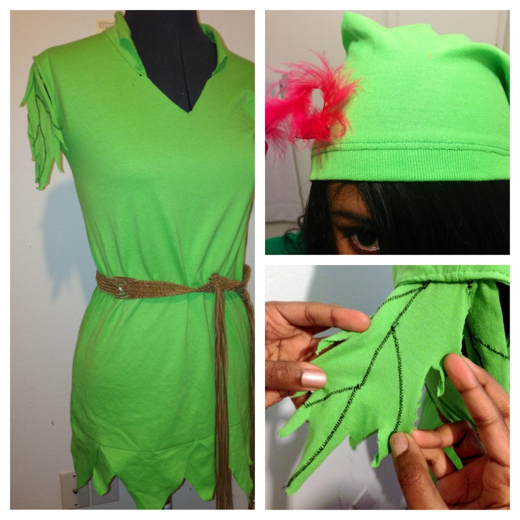DIY Peter Pan costume! Just needed one XXL green t shirt, thread, a feather, and tons of imagination. ( Belt not included)