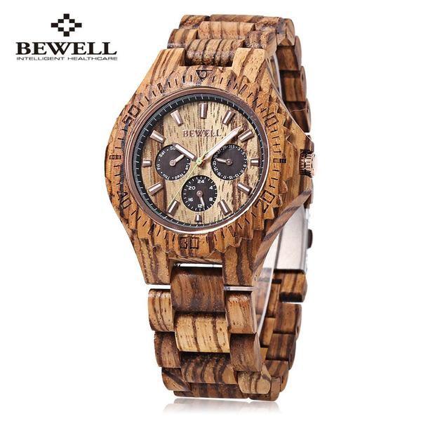 BEWELL Men Business Wood Quartz Watch, Waterproof Luminous Pointer Men Dress Watch Elegant Analog Wrist Watch reloj hombre 2016
