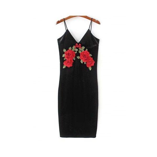 Floral Embroidered Velvet Slip Dress ($22) ❤ liked on Polyvore featuring dresses, floral embroidered dresses, slip dress, velvet slip dress, embroidered flower dress and velvet dress