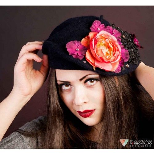 Flower French Beret Hat #accessories #fashion #headpiece #hat #hairstyle #wedding #bridal #crystal #glamour #chic #millinery #romantic #fantasy #hats #swarovski #collection #fairy #look #berethat #flowers