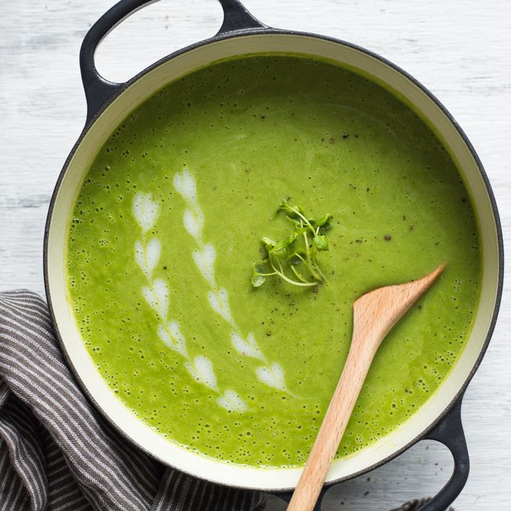 Bunches of tender watercress are blended with potatoes, peas, ginger, scallions, and basil to make the perfect early summer soup.