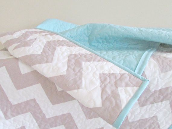 Chevron Baby Quilt - Modern Quilt - Grey and Aqua Quilt