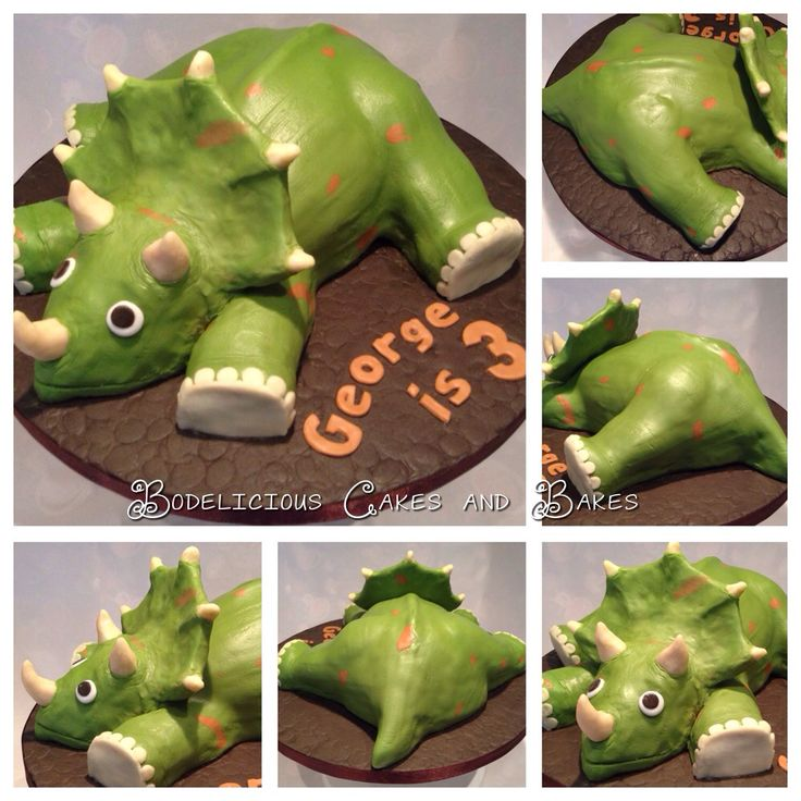 Triceratops Cake in 3D. Seriously Chocolate sponge filled with Chocolate Buttercream, covered with Chocolate Ganache with chocolate truffle head, legs and tail and modelling chocolate horns and collar. By Bodelicious Cakes and Bakes