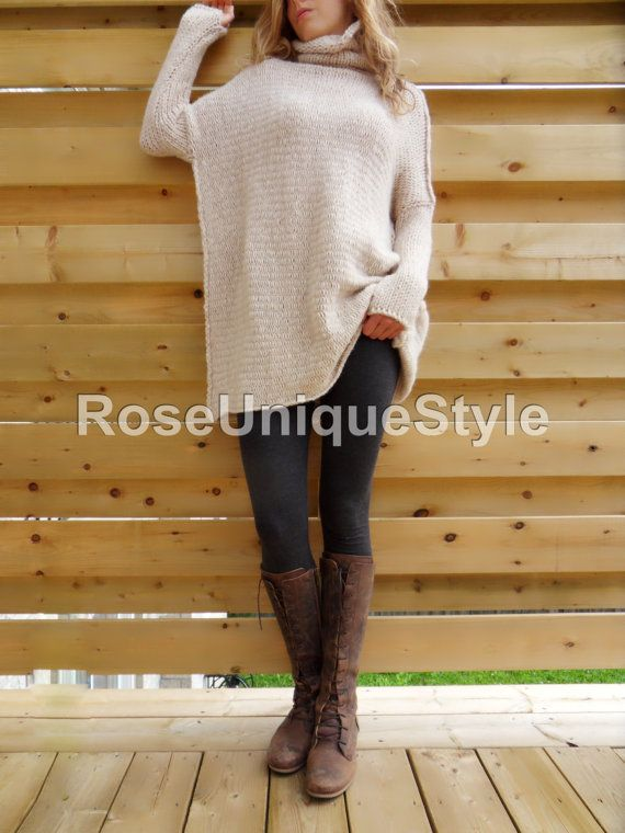 Oversized Chunky knit sweater. Slouchy/ Bulky by RoseUniqueStyle