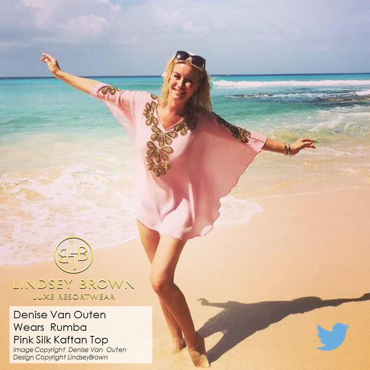tyle over a bikini to protect your skin from hot summer sun as seen on the stunning Denise Van Outen who tweeted a picture of herself in Barbados whilst on holiday to celebrate the wedding of her friend Kimberley Walsh from Girls Aloud. Denise is a fan of our designer kaftans and chooses to wear our silk kaftans & designer beachwear dresses on her luxury holidays, proving you can keep cool & look stunning in our great quality silk in hot climates.