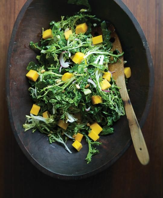 Rick Bayless shares his salad recipe this salad recipe, made with kale, chard, beet greens or, if you're feeling particularly bold, spicy mustard greens, which are a great counterpoint to the sweet mangos.