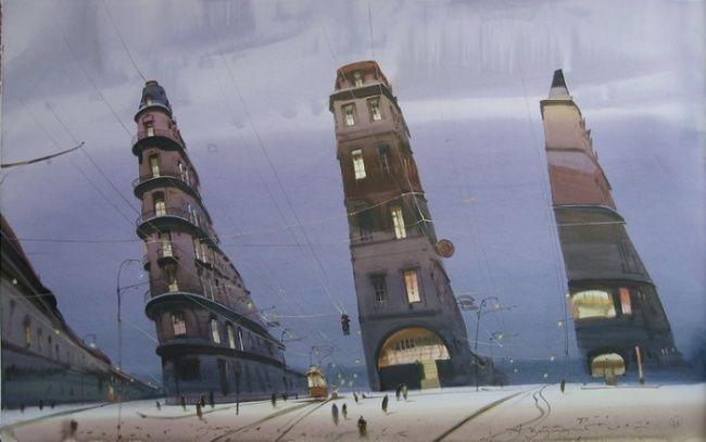 "Александр Шумцов (Аруш Воцмуш) ""Я иду спать, а все — на работу"". #watercolor, #illustration, #artwork"