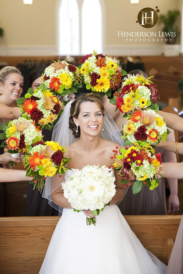 Bridesmaids and flowers wedding shot - James Island Presbyterian Church and Country Club of Charleston, James Island, South Carolina -  Henderson Lewis Photography