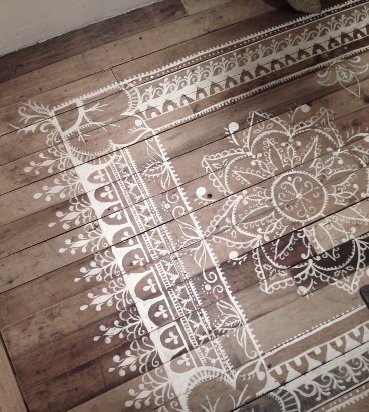 DIY painted rug on wooden floor