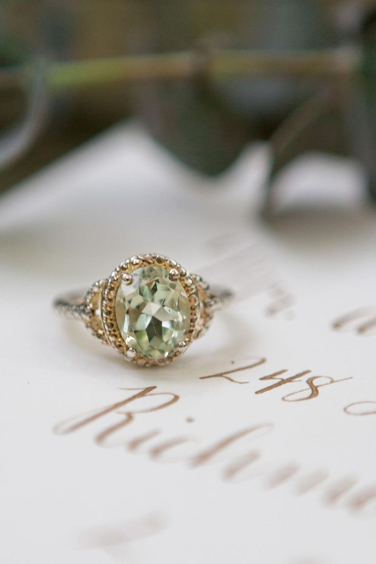 Peridot, green amethyst, engagement ring, gold, oval cut // Nugen Media