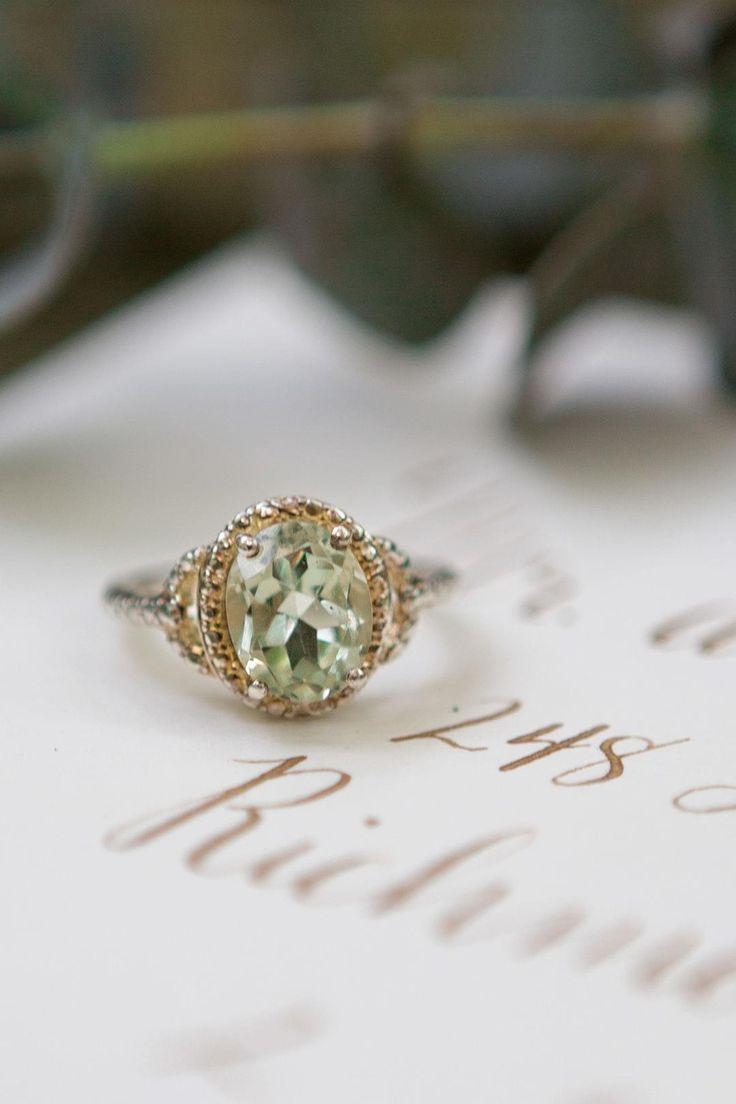 Peridot, green amethyst, engagement ring, gold, oval cut // Nugen Media