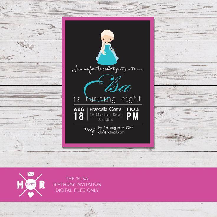 Printable - The 'Elsa' Disney Frozen Princess Birthday Party Invitation by hudsonmeetrose on Etsy