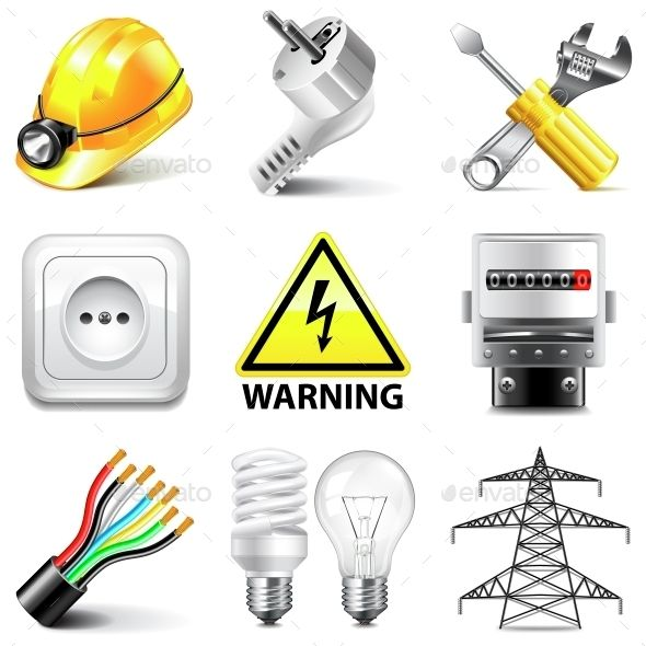 Electricity Icons Vector Set